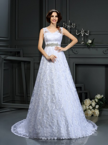 A-Line/Princess V-neck Sleeveless Lace Satin Court Train Wedding Dresses
