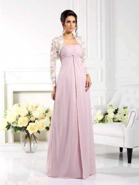 A-Line/Princess Strapless Sleeveless Lace Floor-Length Chiffon Mother of the Bride Dresses
