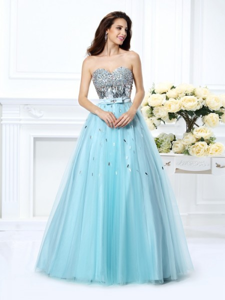 Ball Gown Sweetheart Sleeveless Paillette Floor-Length Satin Prom/Evening Dresses with Beading
