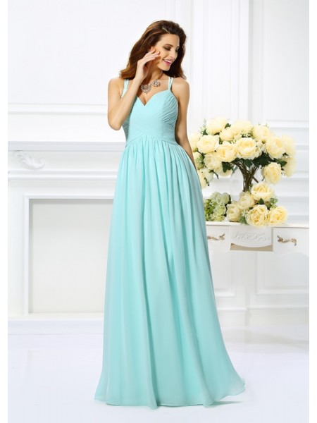A-Line/Princess Sleeveless Spaghetti Straps Chiffon Long Prom Dresses with Pleats