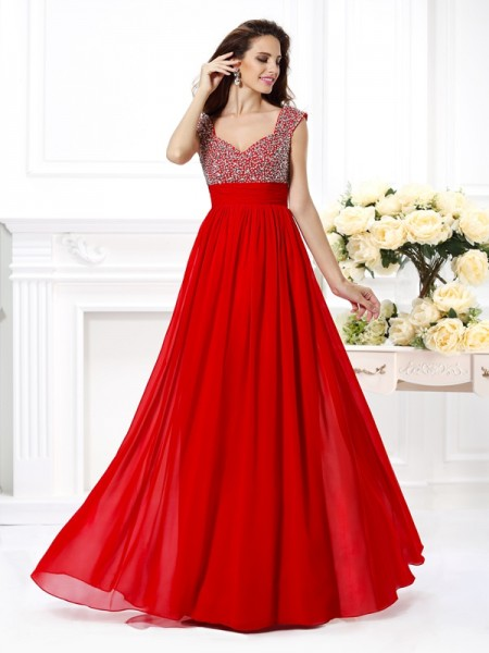 A-Line/Princess Straps Sleeveless Paillette Floor-Length Chiffon Dresses with Beading