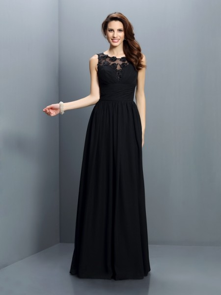 A-Line/Princess Bateau Chiffon Long Bridesmaid Dresses with Pleats