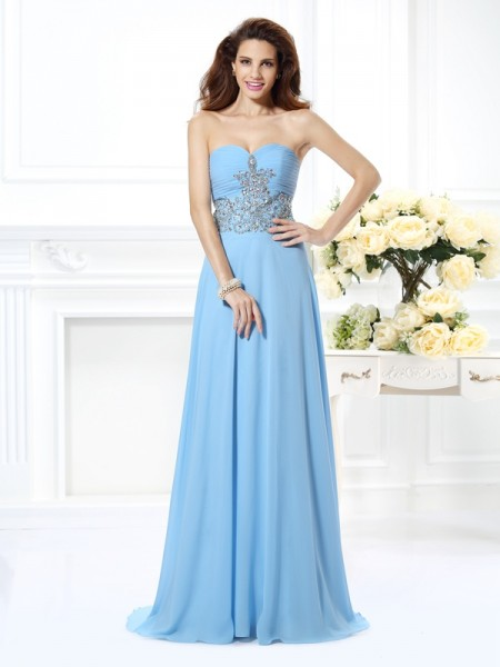 A-Line Sweetheart Sleeveless Sweep/Brush Train Chiffon Prom/Evening Dresses with Beading