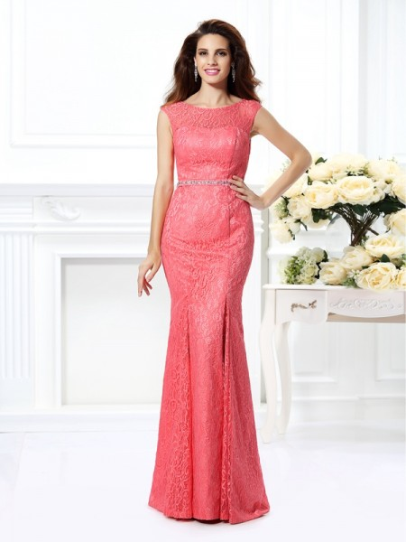 Trumpet/Mermaid Bateau Sleeveless Floor-Length Lace Evening Dresses with Beading