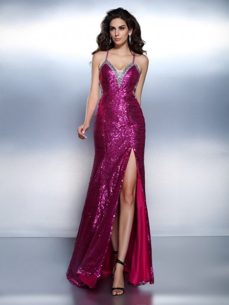 Trumpet/Mermaid Spaghetti Straps Sleeveless Paillette Floor-Length Chiffon Evening Dresses with Beading
