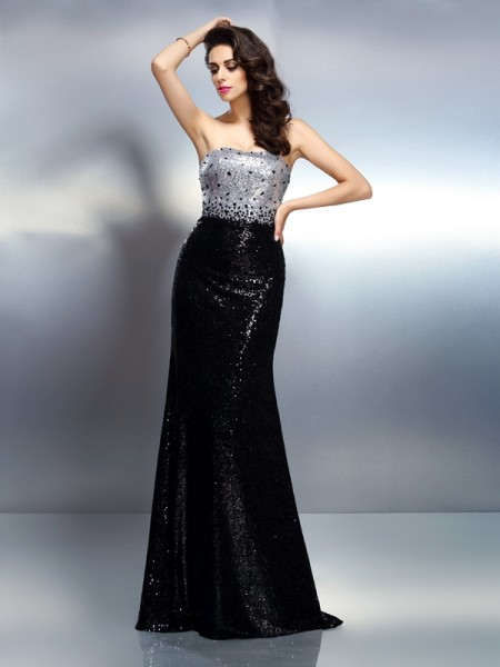 Trumpet/Mermaid Strapless Sleeveless Sequin Sweep/Brush Train Sequins Evening Dresses