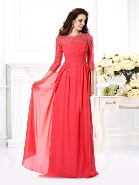 A-Line/Princess Scoop 3/4 Sleeves Floor-Length Chiffon Evening/Formal Dresses with Beading