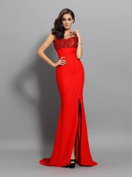 Trumpet/Mermaid Sleeveless Chiffon Scoop Sweep/Brush Train Prom/Evening Dresses with Beading