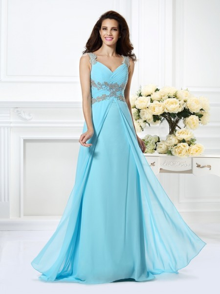 A-Line/Princess V-neck Sleeveless Floor-Length Chiffon Prom/Evening Dresses with Beading