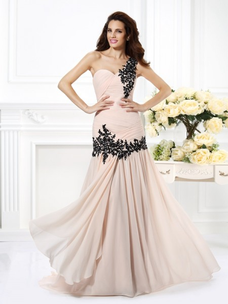 A-Line/Princess One-Shoulder Sleeveless Floor-Length Chiffon Prom/Evening Dresses with Applique with Beading