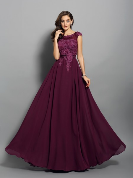 A-Line/Princess Chiffon Scoop Sleeveless Long Dresses with Applique