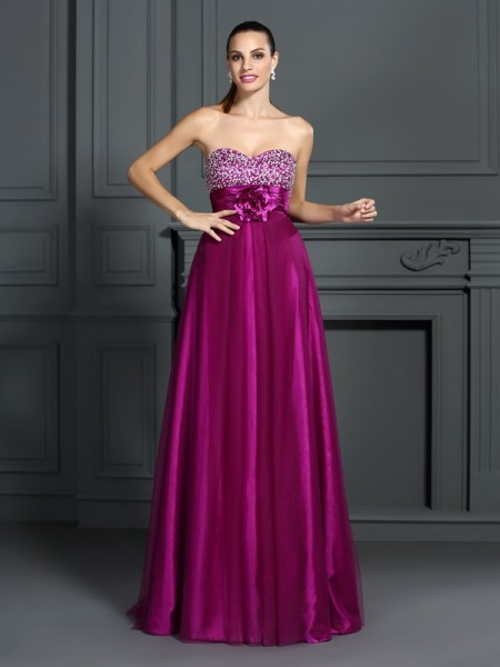 A-Line/Princess Sweetheart Sleeveless Floor-Length Elastic Woven Satin Prom/Evening Dresses with Hand-Made Flower