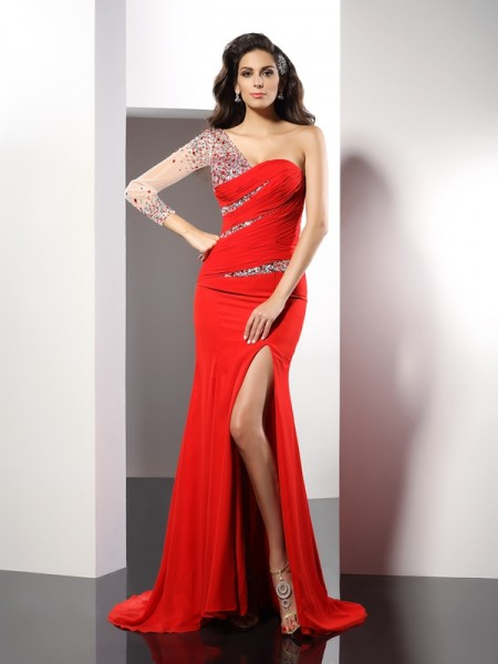 Sheath/Column One-Shoulder 3/4 Sleeves Sweep/Brush Train Chiffon Evening/Formal Dresses with Beading