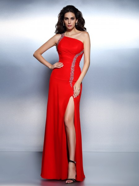 Trumpet/Mermaid One-Shoulder Sleeveless Floor-Length Chiffon Prom/Evening Dresses with Beading