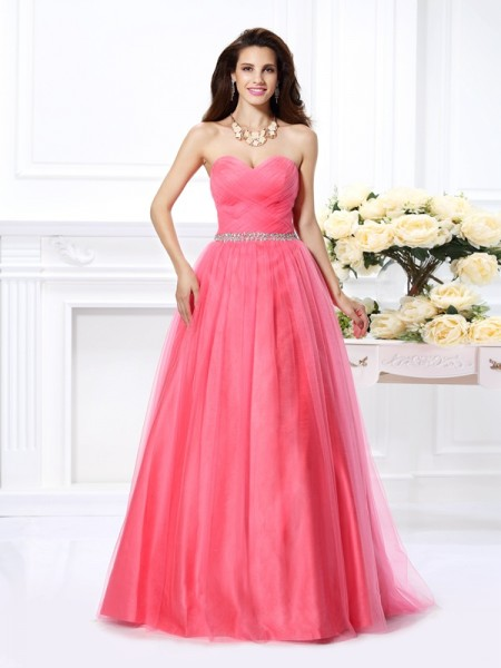 Ball Gown Sweetheart Sleeveless Floor-Length Satin Prom Dresses with Pleats Beading