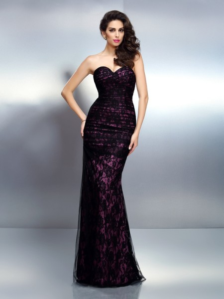 Trumpet/Mermaid Sweetheart Sleeveless Lace Floor-Length Elastic Woven Satin Evening Dresses