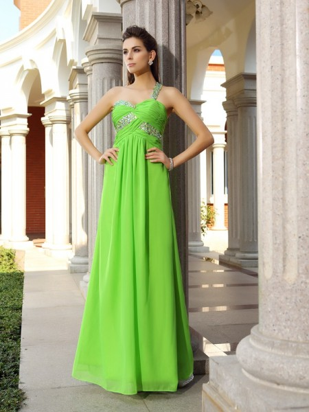 Sheath One-Shoulder Sleeveless Chiffon Long Prom/Evening Dresses with Beading