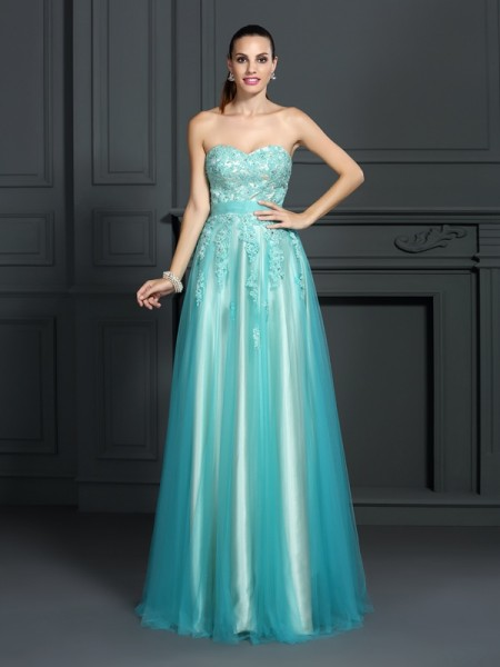 A-Line/Princess Sweetheart Sleeveless Floor-Length Elastic Woven Satin Prom/Evening Dresses with Applique