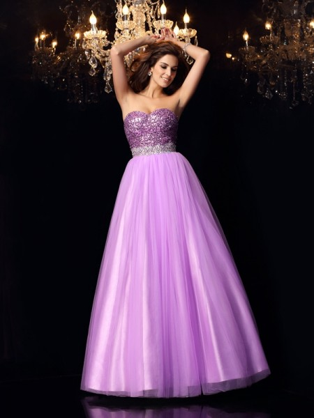 Ball Gown Sweetheart Sequin Sleeveless Elastic Woven Satin Long Dresses