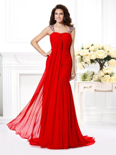 Trumpet/Mermaid Straps Sleeveless Sweep/Brush Train Chiffon Evening Dresses with Rhinestone