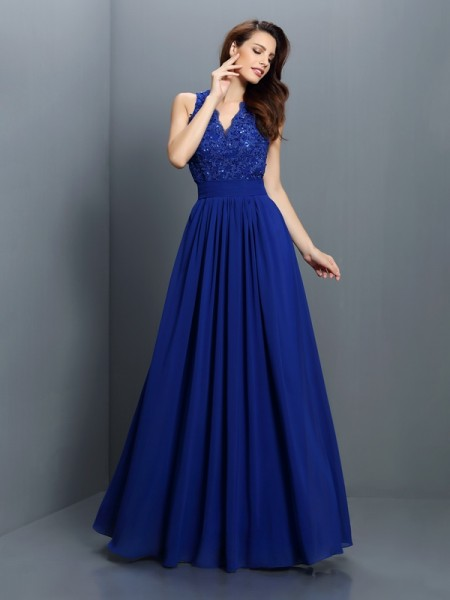 A-Line/Princess V-neck Sleeveless Floor-Length Chiffon Bridesmaid Dresses with Applique