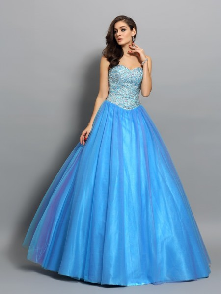 Ball Gown Elastic Woven Satin Sleeveless Sweetheart Floor-Length Prom Dresses with Beading