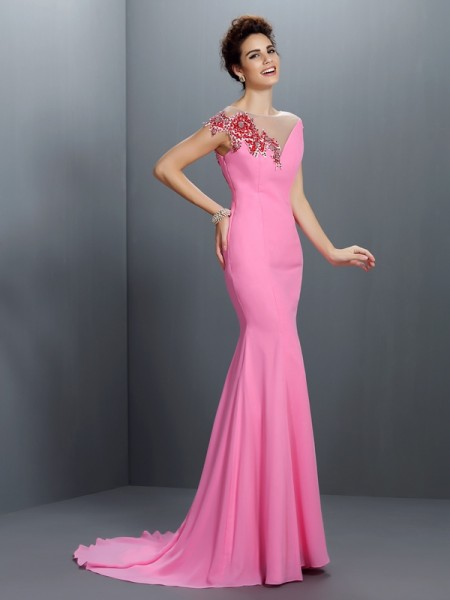 Trumpet/Mermaid Bateau Short Sleeves Sweep/Brush Train Chiffon Evening/Formal Dresses with Beading