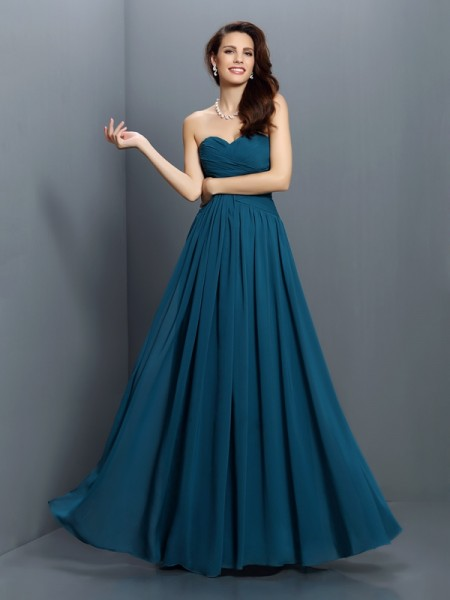 A-Line/Princess Sweetheart Sleeveless Floor-Length Satin Bridesmaid Dresses with Pleats