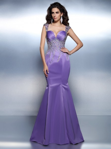 Trumpet/Mermaid Sweetheart Straps Sleeveless Sweep/Brush Train Satin Dresses with Beading