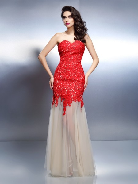 A-Line/Princess Sweetheart Sleeveless Floor-Length Net Prom/Evening Dresses with Applique