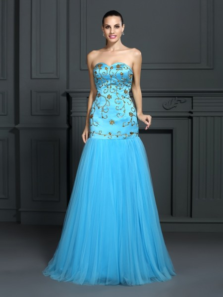 Trumpet/Mermaid Sweetheart Sleeveless Sweep/Brush Train Satin Prom/Evening Dresses with Beading