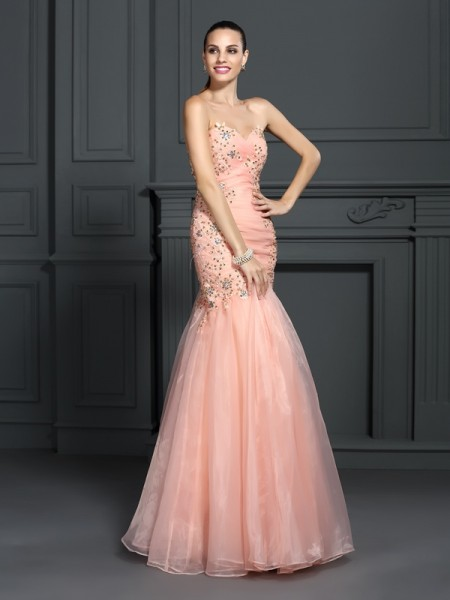 Trumpet/Mermaid Sweetheart Sleeveless Floor-Length Organza Prom/Evening Dresses with Applique