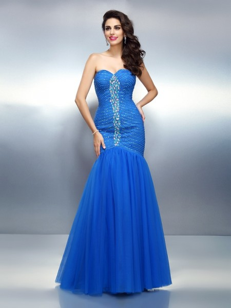 Trumpet/Mermaid Sweetheart Sleeveless Floor-Length Satin Prom/Evening Dresses with Rhinestone