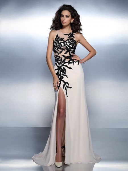 A-Line/Princess Bateau Sleeveless Floor-Length Chiffon Prom/Evening Dresses with Applique