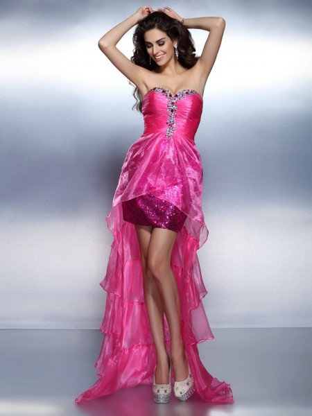 Sheath/Column Sweetheart Sleeveless Asymmetrical Organza Dresses with Beading Rhinestone
