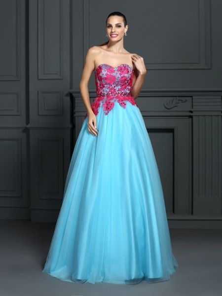 Ball Gown Sweetheart Sleeveless Lace Floor-Length Satin Prom Dresses