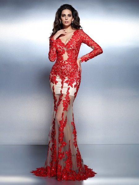 Trumpet/Mermaid V-neck Long Sleeves Sweep/Brush Train Lace Prom/Evening Dresses with Applique
