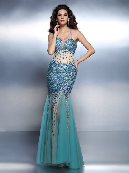 Trumpet/Mermaid Spaghetti Straps Sleeveless Floor-Length Satin Prom/Evening Dresses with Rhinestone