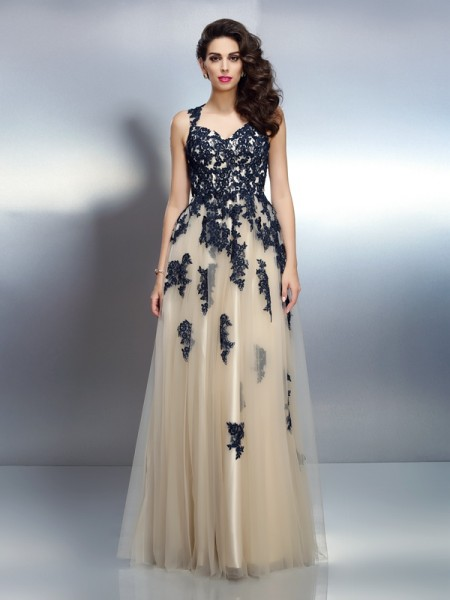 A-Line/Princess Straps Sleeveless Floor-Length Elastic Woven Satin Dresses with Applique