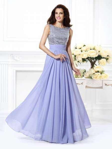 A-Line/Princess Bateau Sleeveless Lace Paillette Floor-Length Chiffon Dresses
