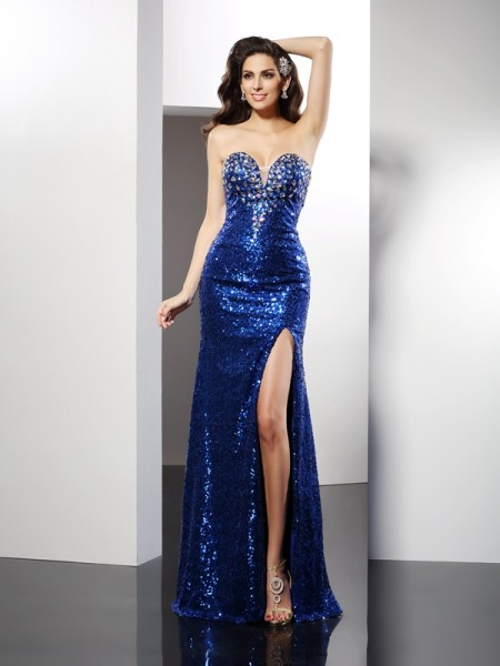 Sheath/Column Sweetheart Sleeveless Sequin Floor-Length Sequins Prom/Evening Dresses