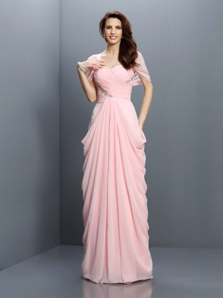 A-Line/Princess Sweetheart Short Sleeves Floor-Length Chiffon Bridesmaid Dresses with Pleats