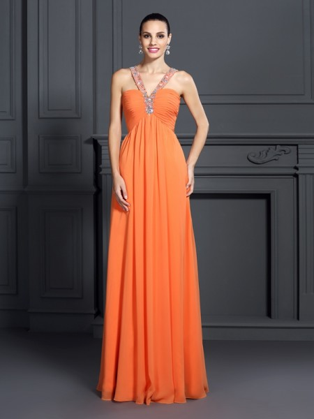 A-Line/Princess Halter Chiffon Long Prom/Evening Dresses with Beading