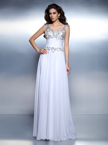 A-Line/Princess Scoop Sleeveless Sweep/Brush Train Chiffon Prom/Evening Dresses with Beading Rhinestone