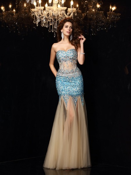 Sheath/Column Sweetheart Sleeveless Net Long Dresses with Beading