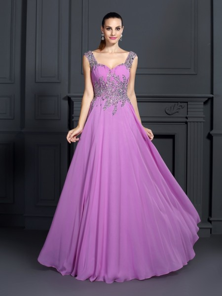 A-Line/Princess Straps Floor-Length Chiffon Long Prom/Evening Dresses with Beading