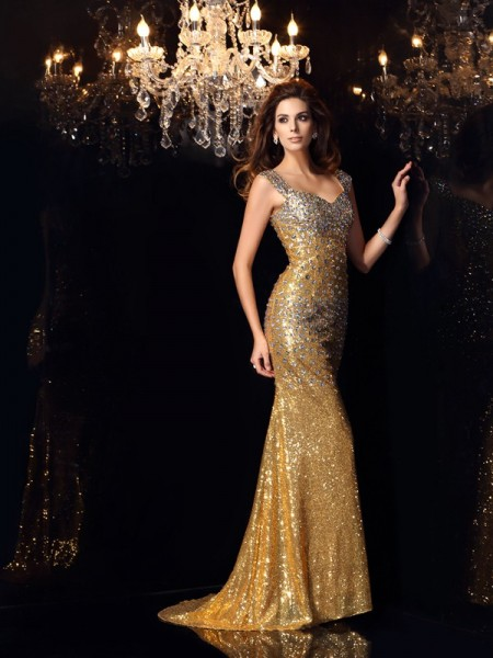 Trumpet/Mermaid Straps Sleeveless Sequins Floor-Length Dresses with Rhinestone