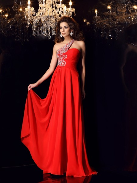 A-Line/Princess Sleeveless One-Shoulder Chiffon Sweep/Brush Train Formal/Evening/Prom Dresses with Beading