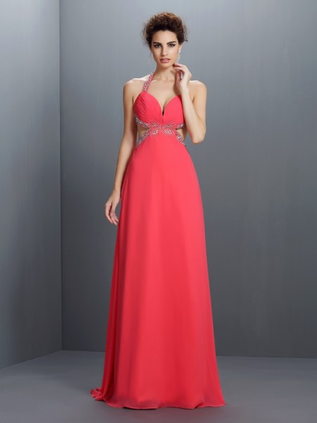 A-Line/Princess Halter Sleeveless Sweep/Brush Train Chiffon Prom Dresses with Beading