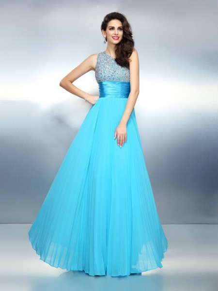 A-Line/Princess One-Shoulder Sleeveless Floor-Length Chiffon Prom/Evening Dresses with Beading